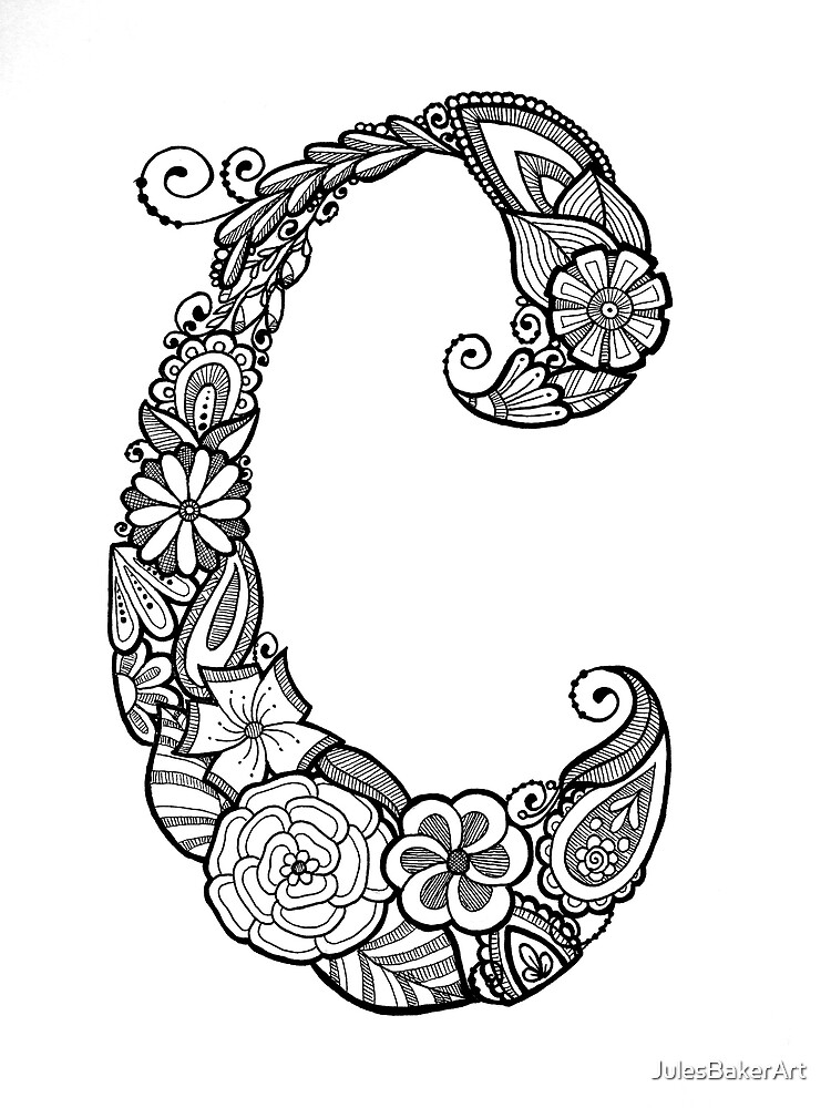 Quot Floral Doodle Letter C In Black And White Quot By