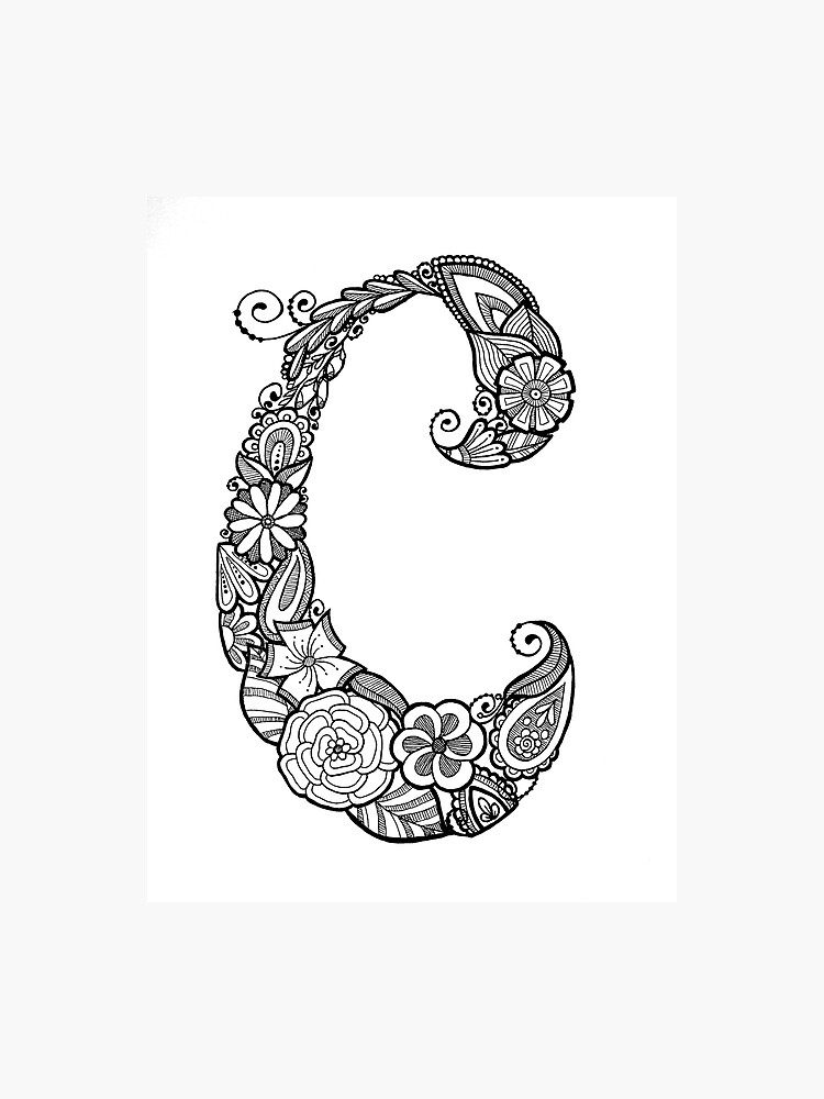 Floral Doodle Letter C in black and white | Photographic Print