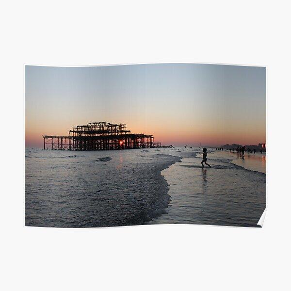 Sunset through West Pier Poster