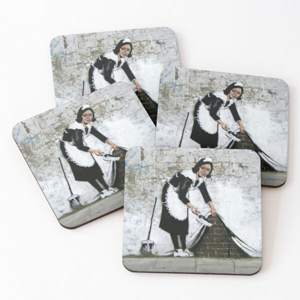 Maid sweeping under carpet Coasters (Set of 4)