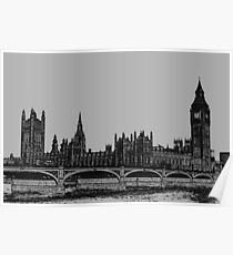Westminster bridge And big Ben Charcoal Effect Poster