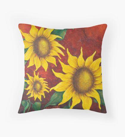 Sunflowers At Sunset Throw Pillow