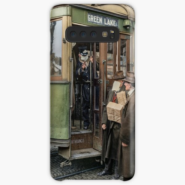 Tram conductor in Seattle not allowing passengers aboard without a mask, during the Spanish Flu in 1918 Samsung Galaxy Snap Case