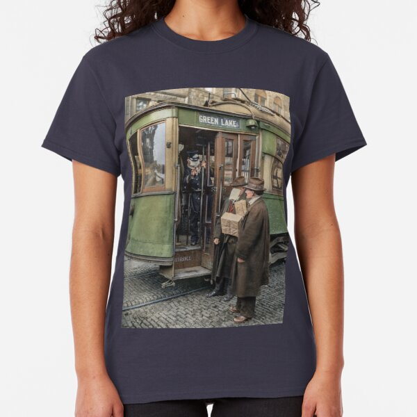 Tram conductor in Seattle not allowing passengers aboard without a mask, during the Spanish Flu in 1918 Classic T-Shirt