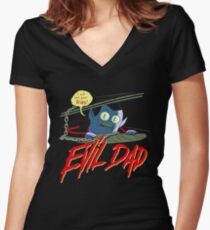 Evil Dad Women's Fitted V-Neck T-Shirt