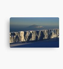 The Roof of Africa - Mt Kilimanjaro Summit Glacier Overlooking Mt Meru Canvas Print