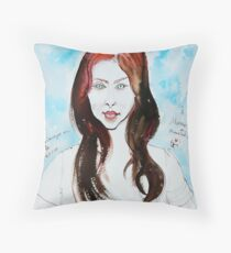 The Auburn Hair Blue Eyes Girl Throw Pillow