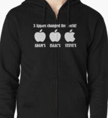 3 Apples Changed The World - Tribute - Steven/Steve Jobs R.I.P Zipped Hoodie