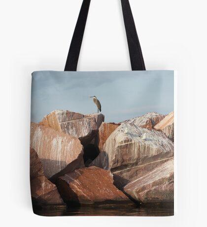 Blue Heron on Red Rock Tote Bag