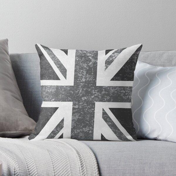 Union Jack Vintage Grayscale - United Kingdom Flag  Throw Pillow