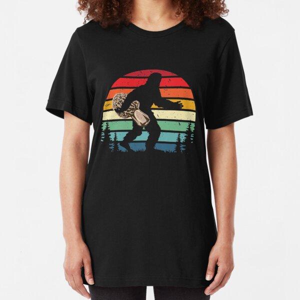 Sasquatch Foraging Morels Bigfoot Morel Mushroom Hunter Gift Slim Fit T-Shirt