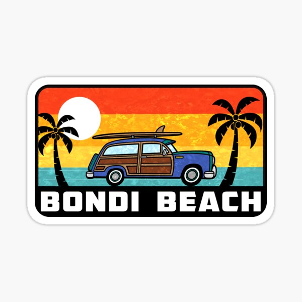 Bondi Beach New South Wales Surfing Australia Woodie Surf Surfer Surfboard Sticker