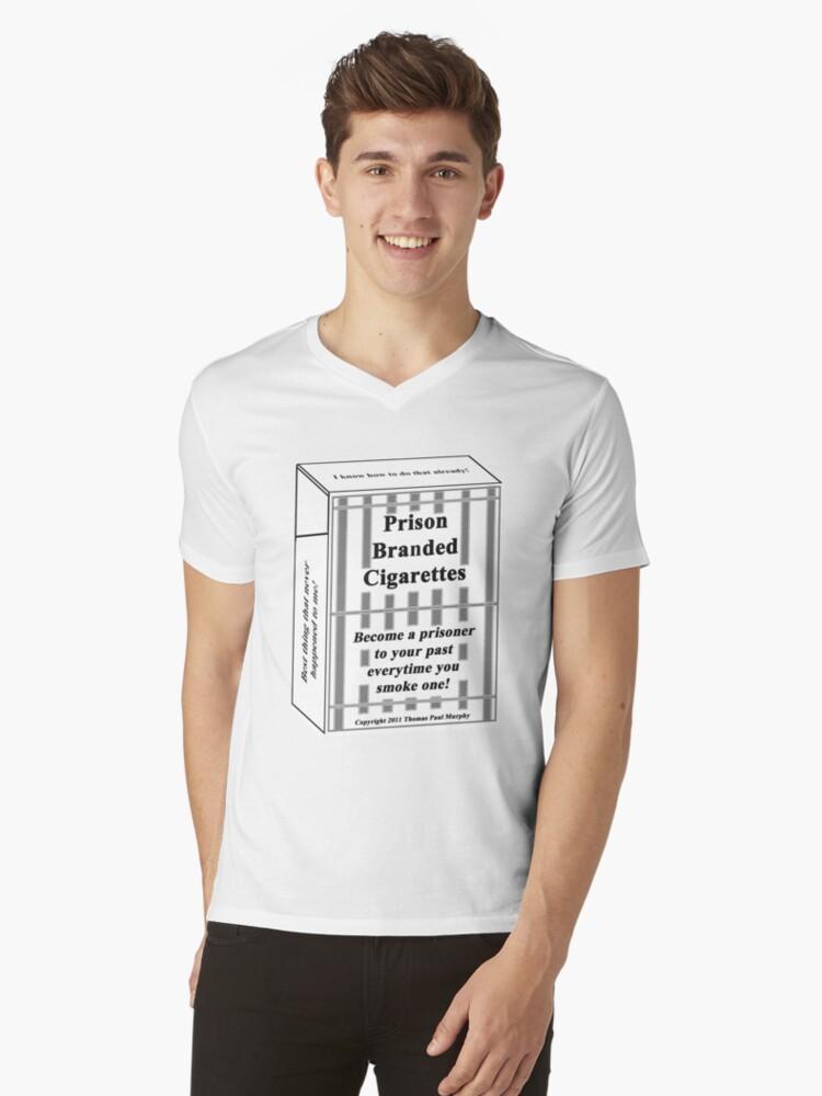 Prison Branded Cigarettes Mens V-Neck T-Shirt Front