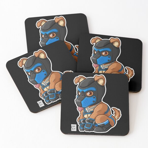PLAYFUL PUPPY - BLUE MASK - BEARZOO SERIES Coasters (Set of 4)