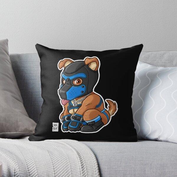 PLAYFUL PUPPY - BLUE MASK - BEARZOO SERIES Throw Pillow