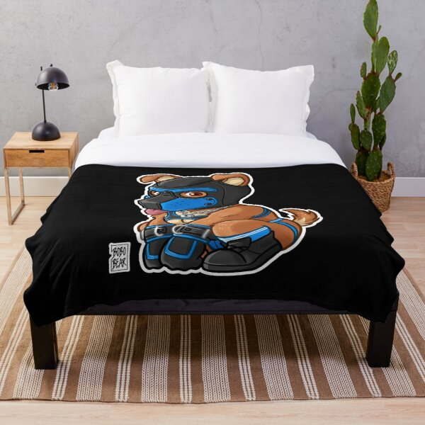 PLAYFUL PUPPY - BLUE MASK - BEARZOO SERIES Throw Blanket