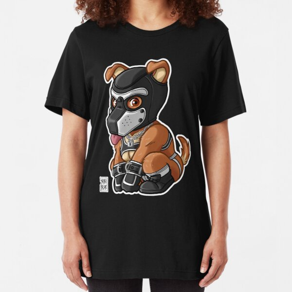PLAYFUL PUPPY - WHITE MASK - BEARZOO SERIES Slim Fit T-Shirt