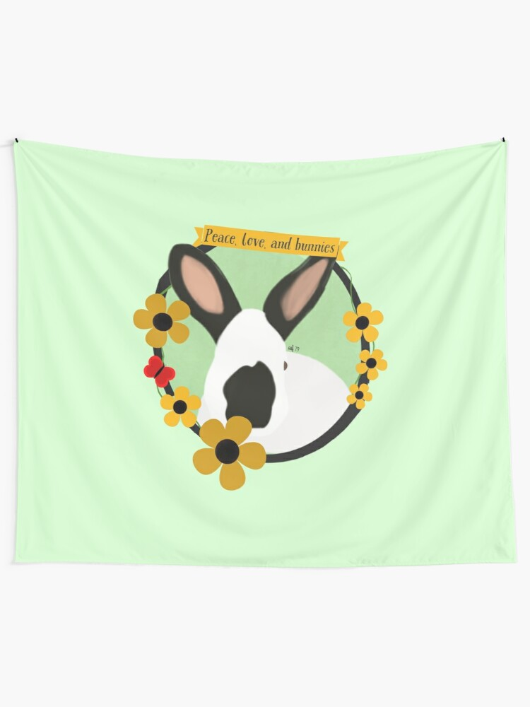 Peace Love And Bunnies Minimalist Himalayan Rabbit Floral Illustration Tapestry By Leatondesigns Redbubble