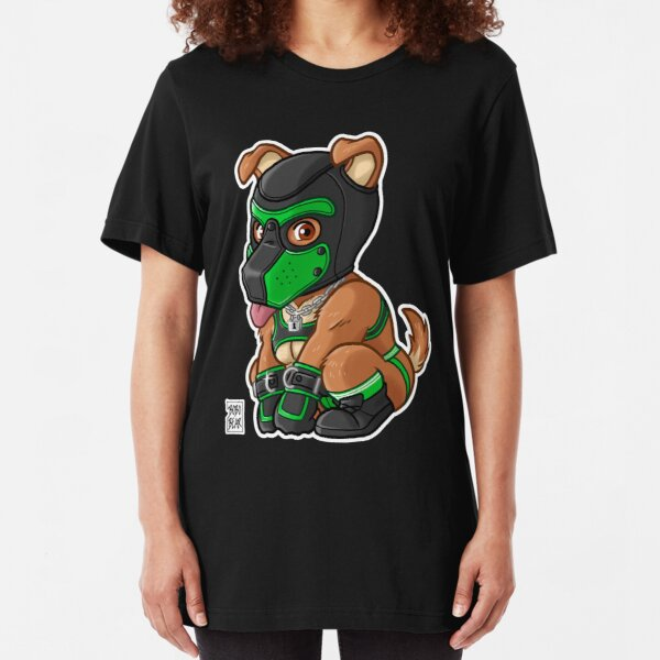 PLAYFUL PUPPY - GREEN MASK - BEARZOO SERIES Slim Fit T-Shirt