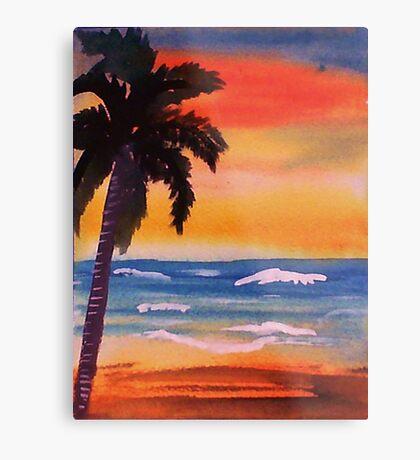 Lone palm on beach, watercolor Metal Print
