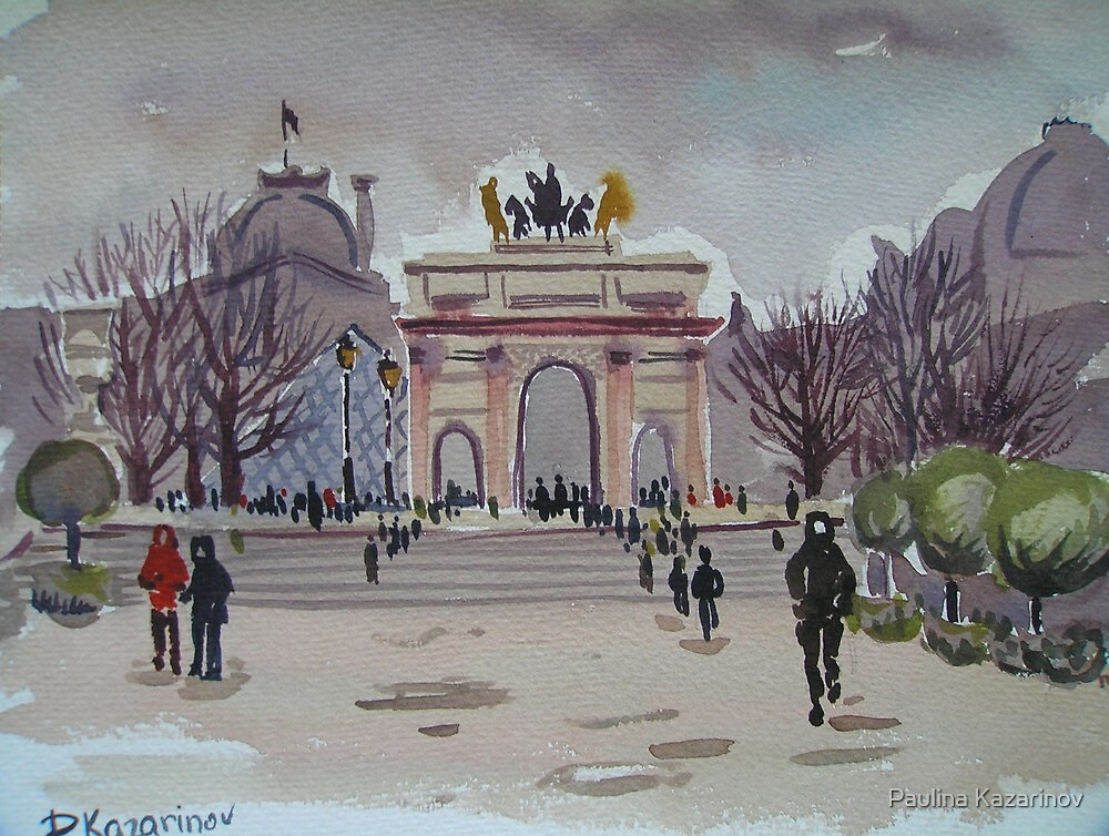 Winter in Paris - The view over Musée du Louvre from Tuileries Garden  by Paulina Kazarinov
