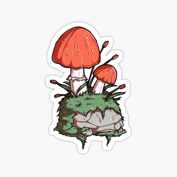 Mushrooms and Moss and a Rock Sticker