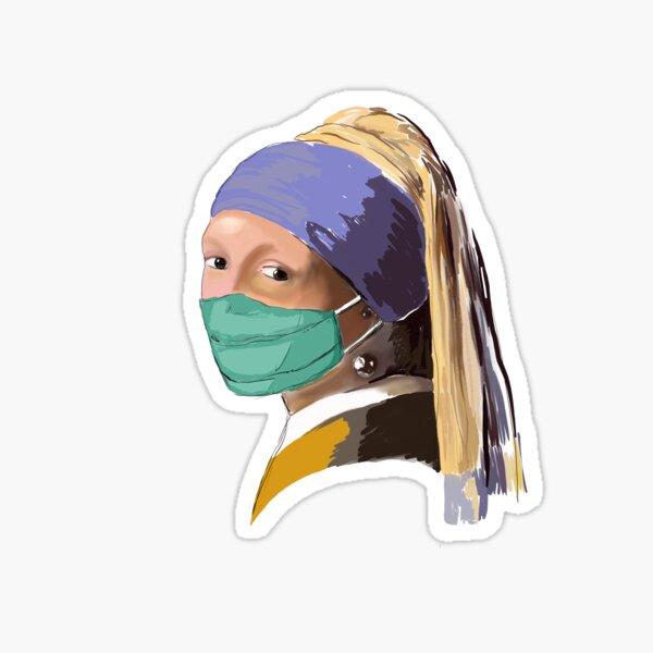 Mädchen mit dem Mundschutz - Corona Motiv Sticker