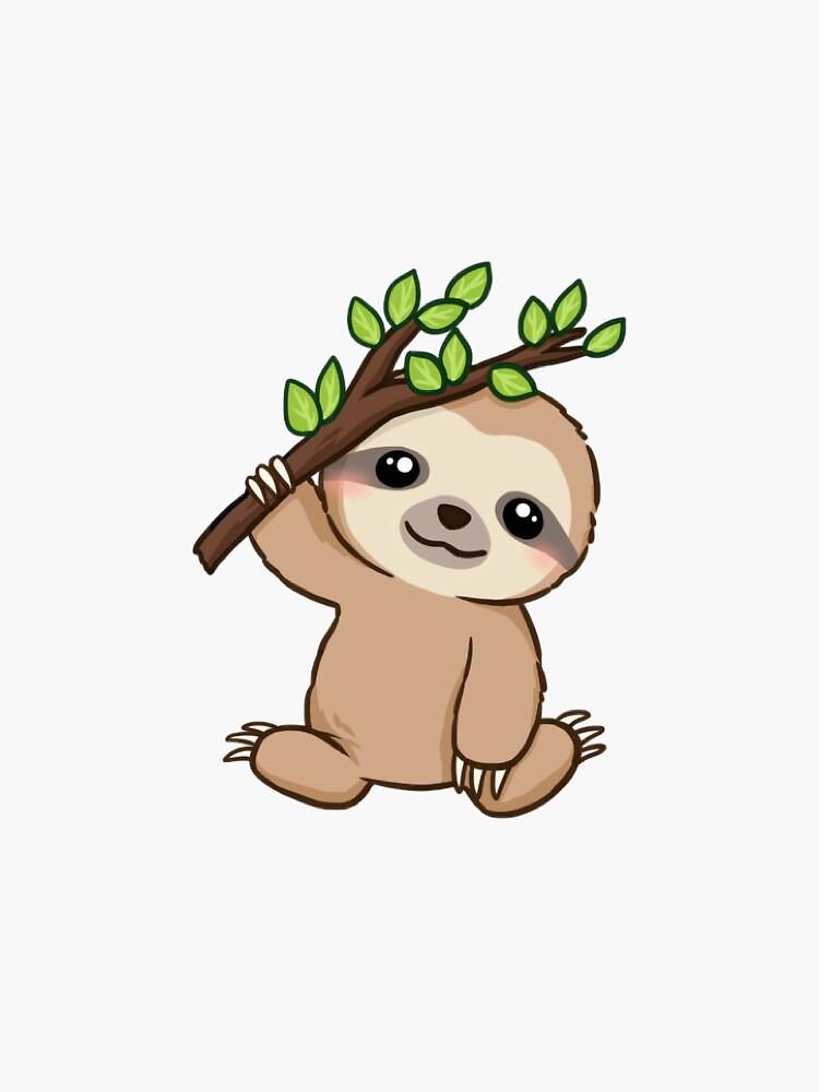 Baby hanging sloth sticker by katherineshek