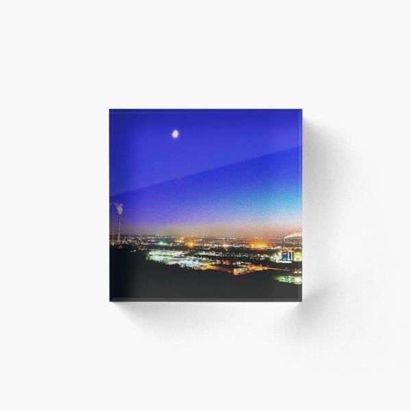 The moon over the pot, moonlight Acrylic Block