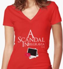 A Scandal In Belgravia (White) Women's Fitted V-Neck T-Shirt