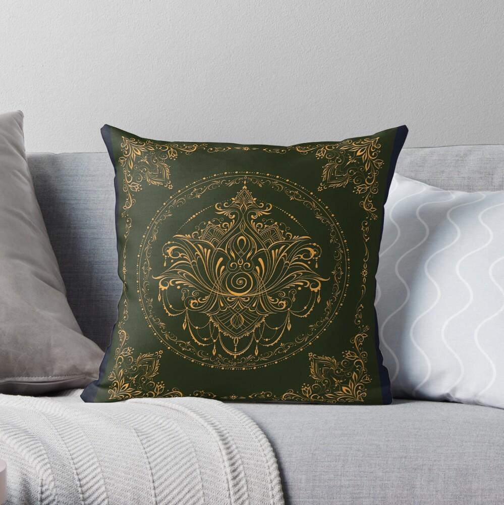 Lotus Goddess in Deep Green Throw Pillow