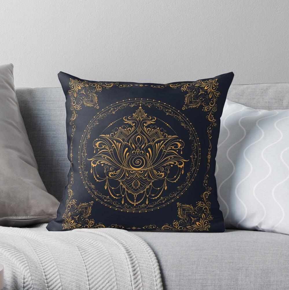 Lotus Goddess in Deep Blue Throw Pillow