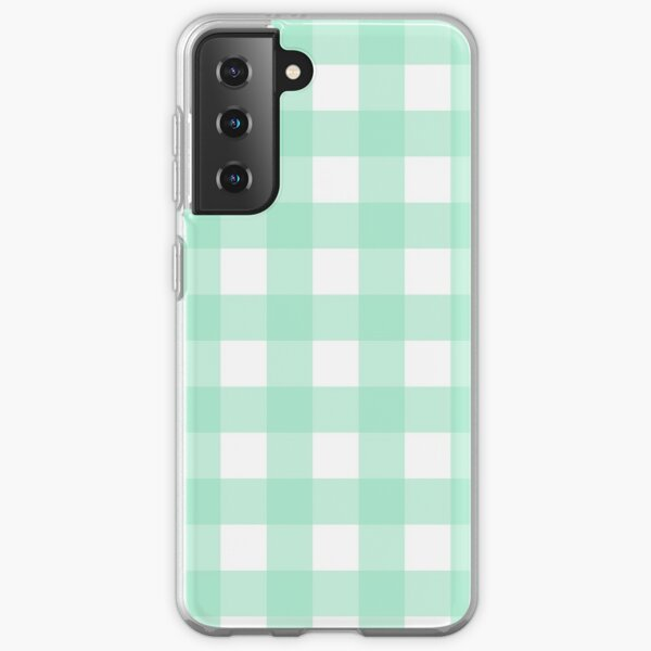 Mint Green Gingham Pattern (Large Wide Print) Samsung Galaxy Soft Case