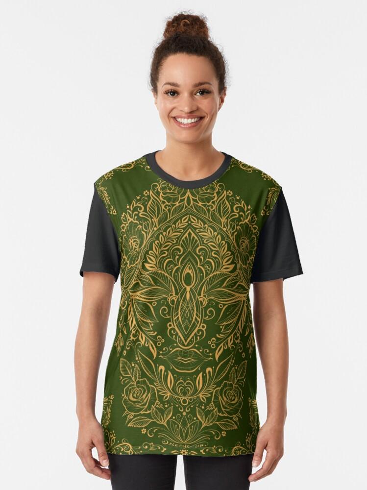Alternate view of Dreamie's Green Goddess Graphic T-Shirt