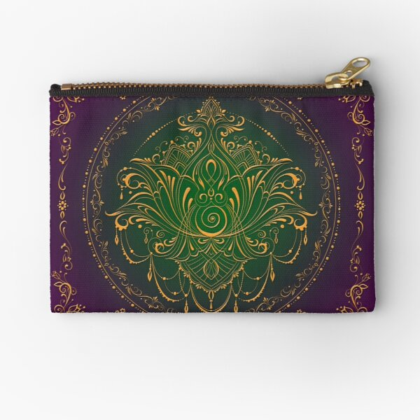 Lotus Goddess in Peacock Purples Zipper Pouch