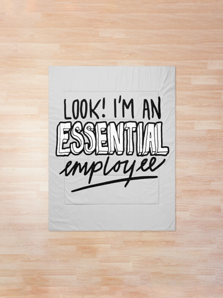 Alternate view of Funny Essential Employee Meme Comforter