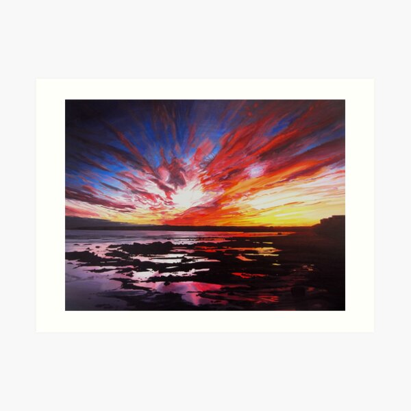January Sunset Over Rockpools In Garryvoe Art Print