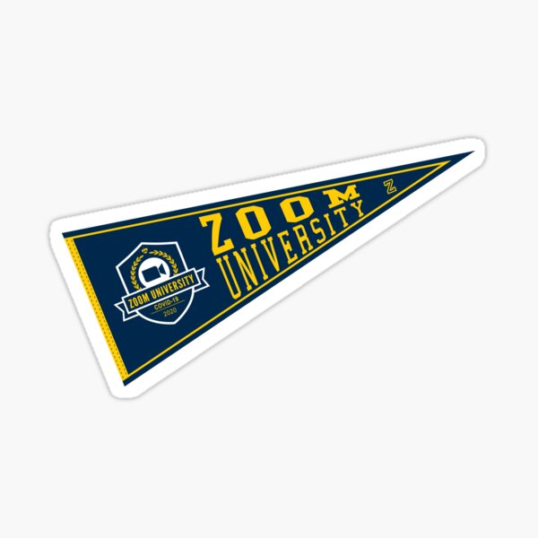 Zoom University Pennant Flag blue yellow Sticker