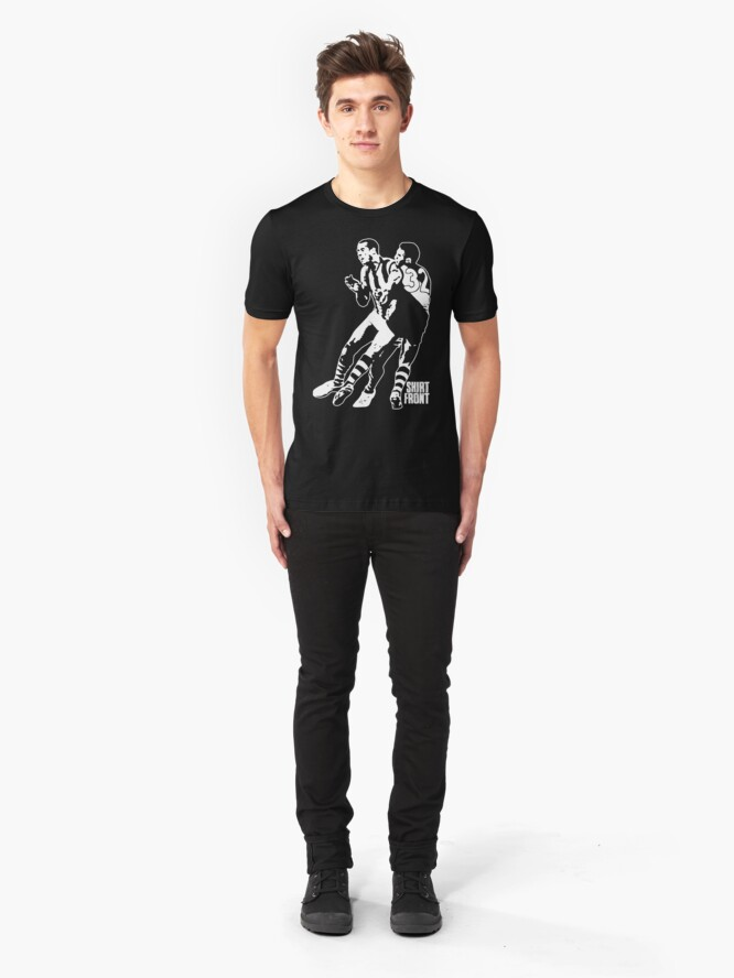 Alternate view of Bud v Cuz: White on Black Slim Fit T-Shirt