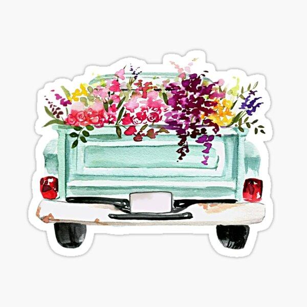 Weinlese-Aquarell-LKW Sticker
