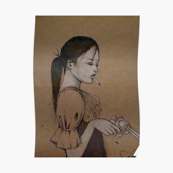Smoking Girl With A Gun Poster