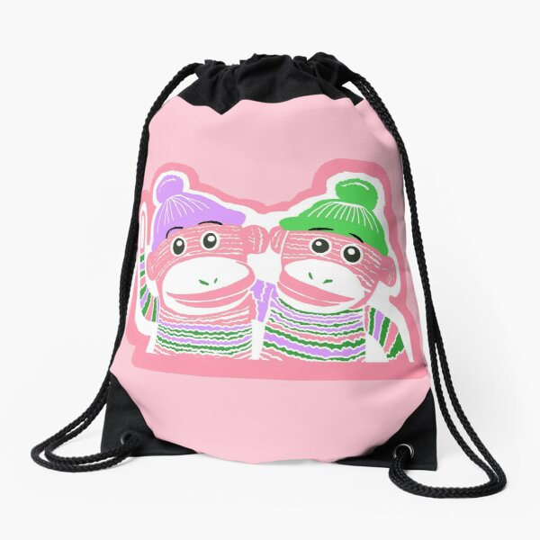 Pink, Purple, and Green Sock Monkeys Drawstring Bag