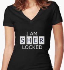 I AM SHER - LOCKED Women's Fitted V-Neck T-Shirt