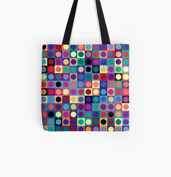 Vasarely Inspired All Over Print Tote Bag
