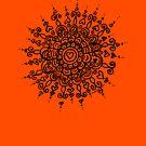 Heart Centred Mandala - black print by TangerineMeg