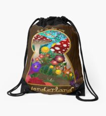 Travel to Wonderland Drawstring Bag