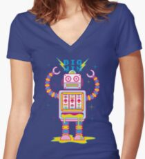 Vegasbot 7000 Women's Fitted V-Neck T-Shirt