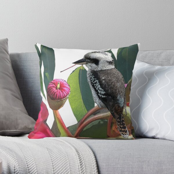 The Kookaburra and the Red Flowering Gum Throw Pillow