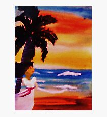 Lady under lone palmtree, watercolor Photographic Print