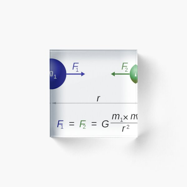 Every point mass attracts every single other point mass by a force acting along the line intersecting both points Acrylic Block